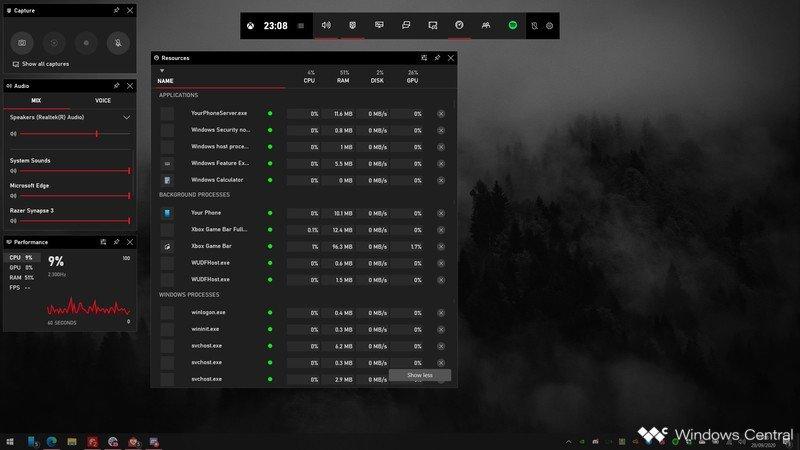 Xbox Game Bar Resource Monitor